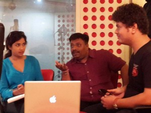 Jatin-Pratik in Recordin with Shreya Ghoshal on November 20,2014 @Andheri....